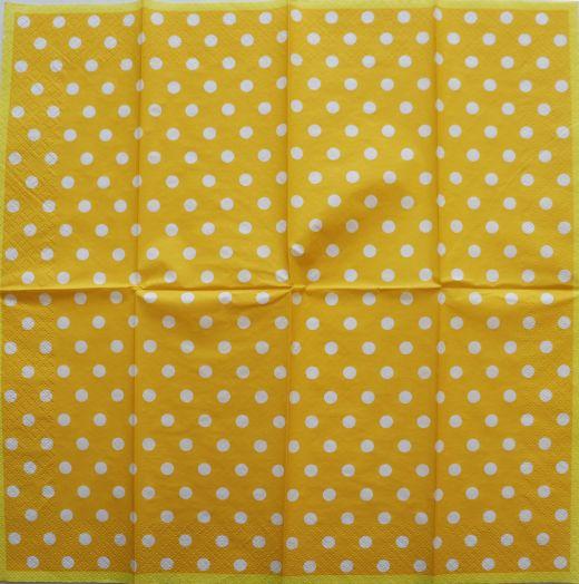 Салфетка бумажная 33*33 Белый горох на желтом