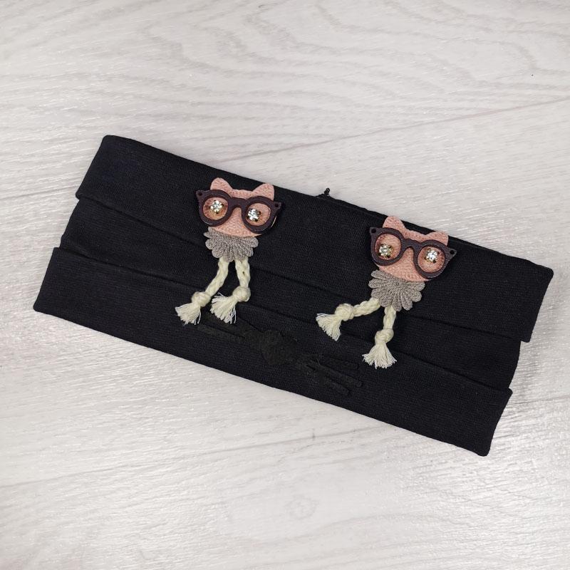 п1049-74 Повязка трикотажная с отворотами Совы в очках бархатные усики сине-черная