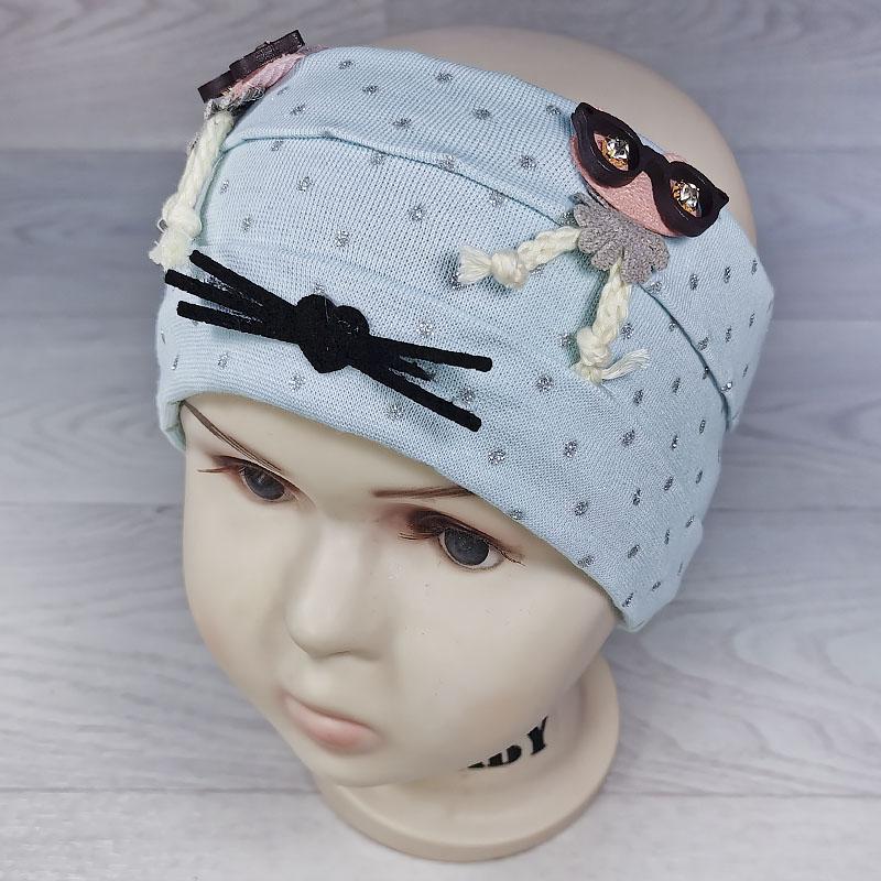 п1054-10  Повязка трикотажная с блестящими точками Совы в очках голубая