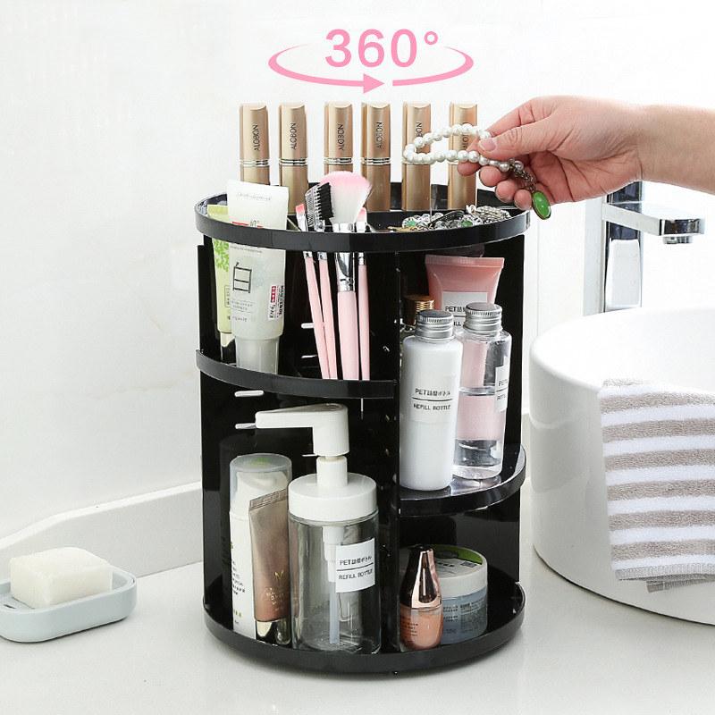 Вращающийся Органайзер Для Косметики 360 Rotation Cosmetic Organizer, Цвет Черный