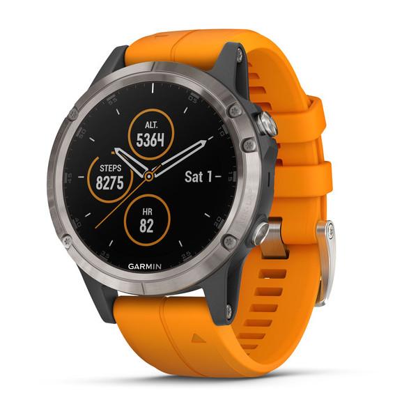 Часы Garmin Fenix 5 plus Sapphire титановый с оранжевым ремешком