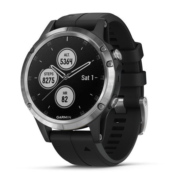 Часы Garmin Fenix 5 Plus серебристые с черным ремешком