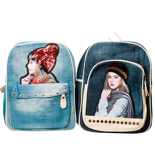 Джинсовый рюкзак с рисунком