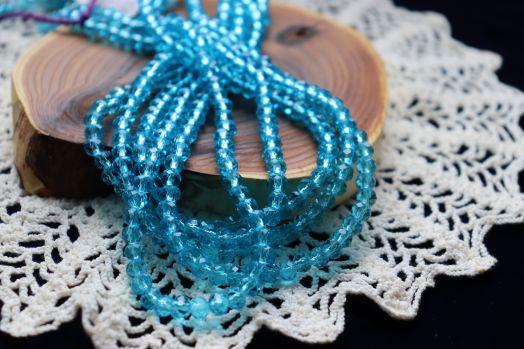 Бусины стеклянные, граненый рондель, нитка 50 см, цвет 307, Бирюза