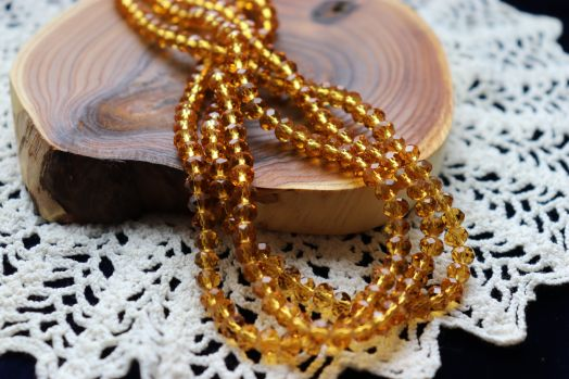 Бусины стеклянные, граненый рондель, нитка 50 см, цвет 317, Желтый