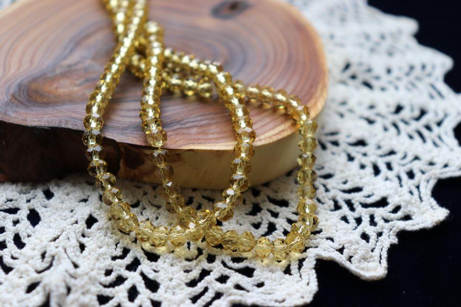 Бусины стеклянные, граненый рондель, нитка 50 см, цвет 318, Светло-оливковый