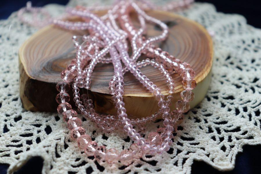 Бусины стеклянные, граненый рондель, цвет 349, Розовый, 3*2 мм, нитка 40 см