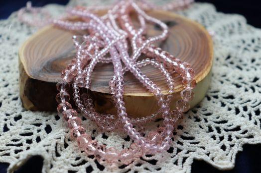 Бусины стеклянные, граненый рондель, нитка 50 см, цвет 349, Розовый