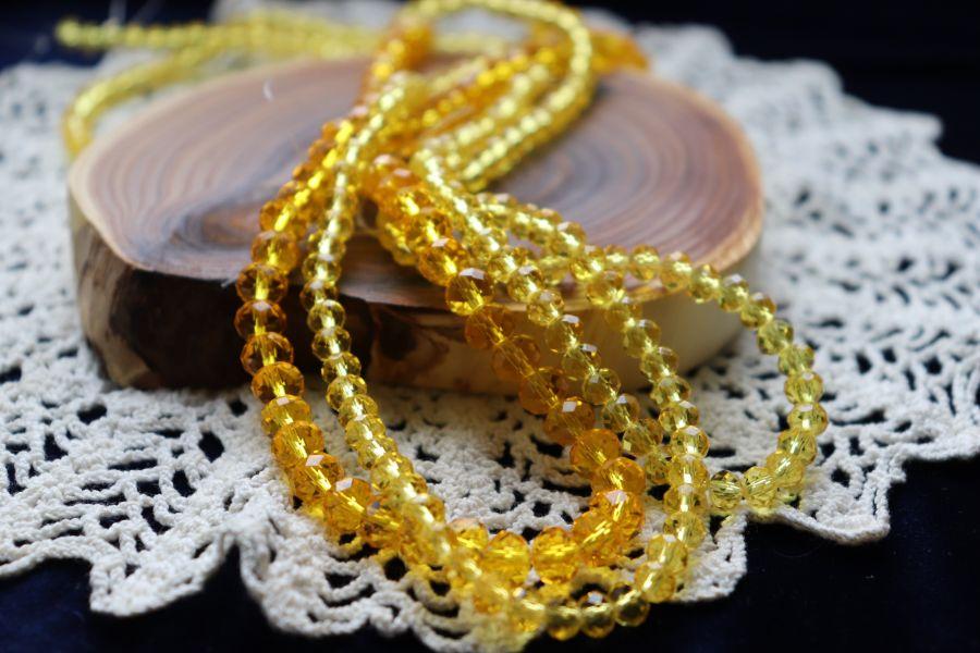 Бусины стеклянные, граненый рондель, нитка 50 см, цвет 343, Ярко-желтый