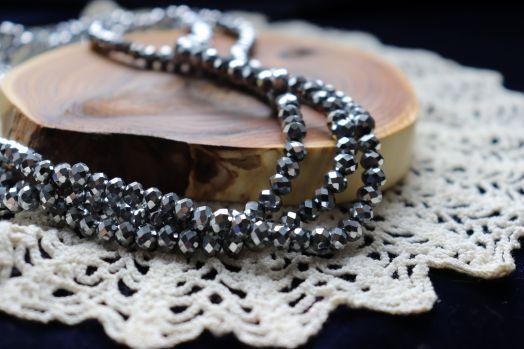 Бусины стеклянные, граненый рондель, нитка 50 см, цвет 606, Серебро