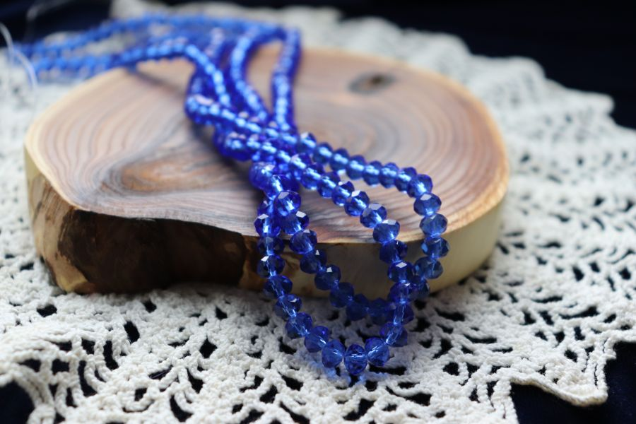 Бусины стеклянные, граненый рондель, цвет 304, Синий, 6*4 мм, 45см