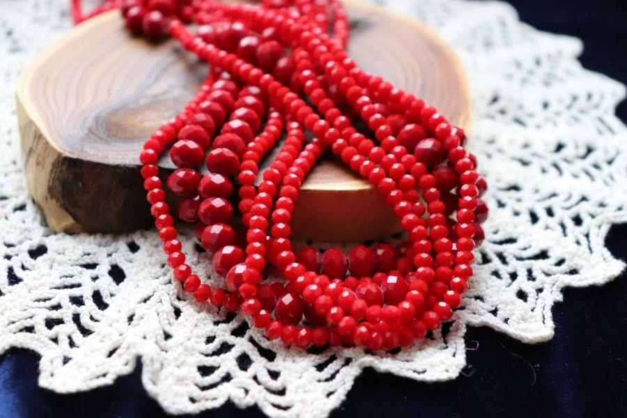 Бусины стеклянные, граненый рондель, нитка 50 см, цвет С340, Красный непрозрачный