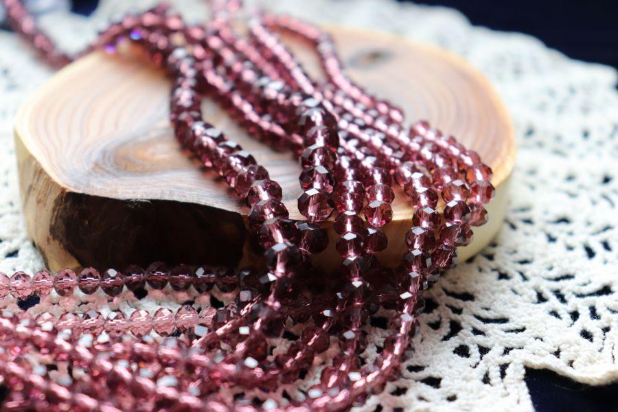 Бусины стеклянные, граненый рондель, нитка 50 см, цвет 312, Аметист