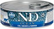 Farmina N&D  консервы для кошек, треска, креветки и тыква 80 гр