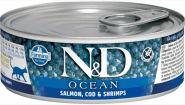 Farmina N&D консервы для кошек, лосось, треска и креветки 80 гр