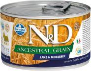 Farmina N&D Ancestral Grain Консервы низкозерновые для собак мелких пород, ягненок с черникой 140г