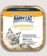 Happy Cat Паштет для кошек Цыпленок с кусочками 100 г