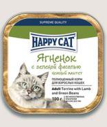 Happy CatПаштет для кошек Ягненок с зеленой фасолью кусочками 100г