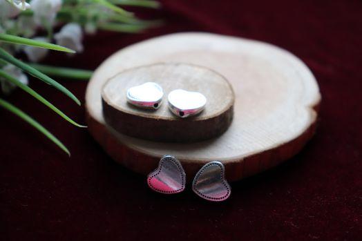 Металлические бусины, Сердце плоское ажурное, 4 шт/упак