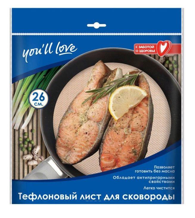 """Тефлоновый лист для сковороды """"You love"""" арт.61118"""