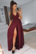 Бордовое вечернее платье  в пол на бретельках с разрезом
