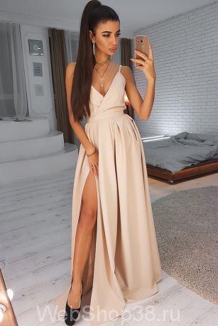 Бежевое вечернее платье  в пол на бретельках с разрезом