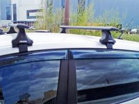 Багажник на крышу Renault Kaptur, Атлант, крыловидные аэродуги (черный цвет)