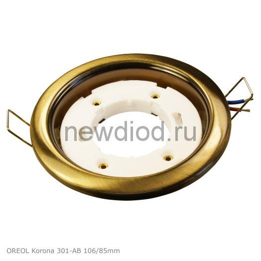 Точечный Светильник OREOL Korona 301-AB 106/85mm под лампу GX53 H4 Антик Бронза