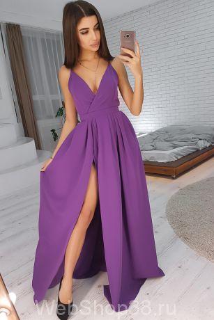 Сиреневое вечернее платье  в пол на бретельках с разрезом