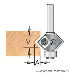 Фреза для снятия фаски с подшипником со сменными ножами 27x12x56x6 угол 45  DIMAR 1024523