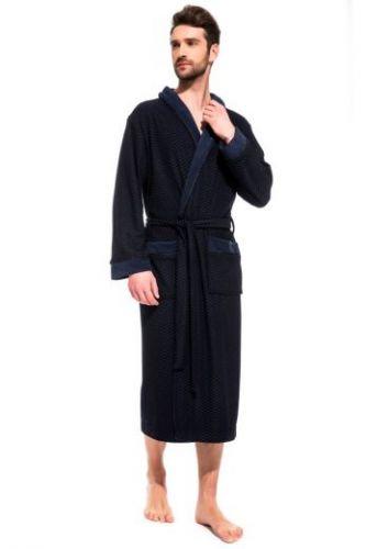 Облегченный махровый халат из бамбука Organique Bamboo синий