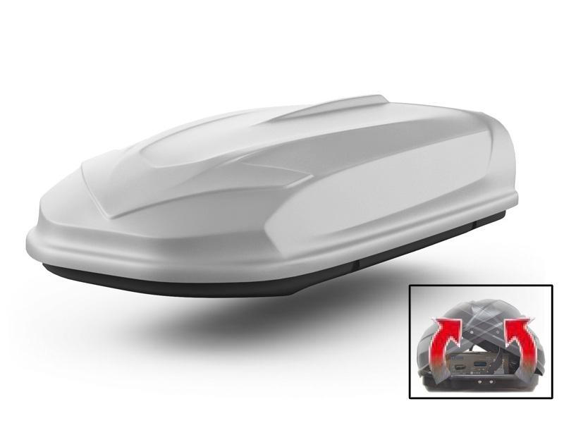 Автомобильный бокс на крышу Avatar EURO, 460 литров, двусторонний, серый матовый