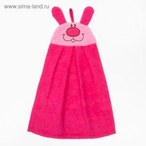 """Полотенце-рушник махровый """"Зайчик"""", 43?35 см, розовый, хл100%, 300 г/м?"""