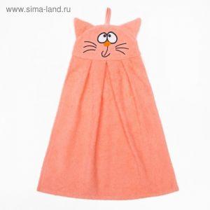 """Полотенце-рушник махровый """"Котик"""", 43?35 см, персик, хл100%, 300 г/м?"""