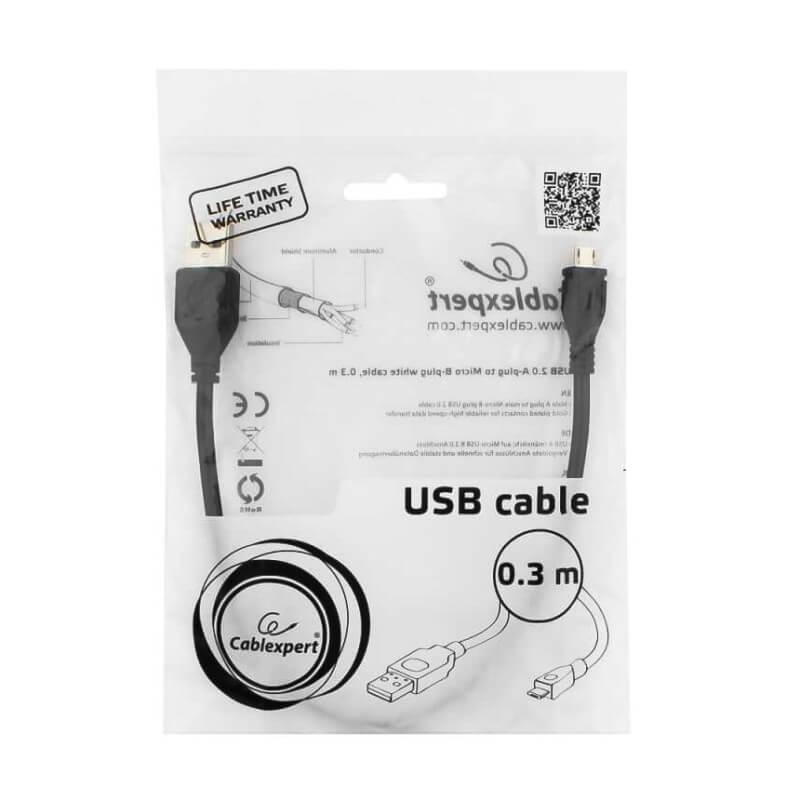 Кабель Micro USB кабель Cablexpert, 0.3м, черный