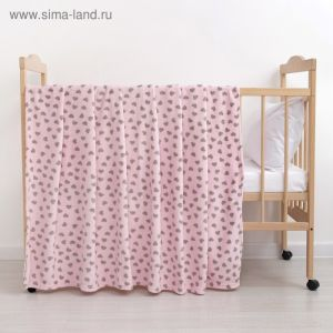 Плед «Сердечки» цвет розовый 80?100 см, пл. 230 г/м?, 100% п/э