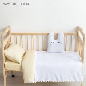 "Плед-одеялко с бомбошками ""Крошка Я"" белый, р-р 110 х 90 см, 100% п/э, велсофт"