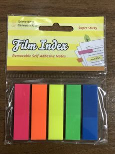 Ярлычки-закладки Film Index 5цв по 25л 12*45 неон пластик