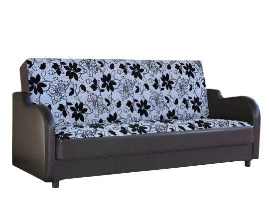 Диван-кровать Классика В шенилл серый цветы