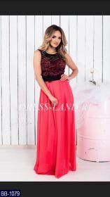 Коралловое платье в пол с гипюровым лифом