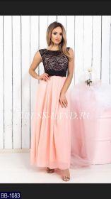 Персиковое платье в пол с гипюровым лифом