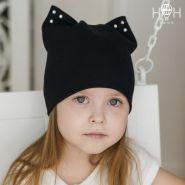 ШВ19-04021335 Шапка - кошка со стразами. Двухслойная шапка с ушками черный