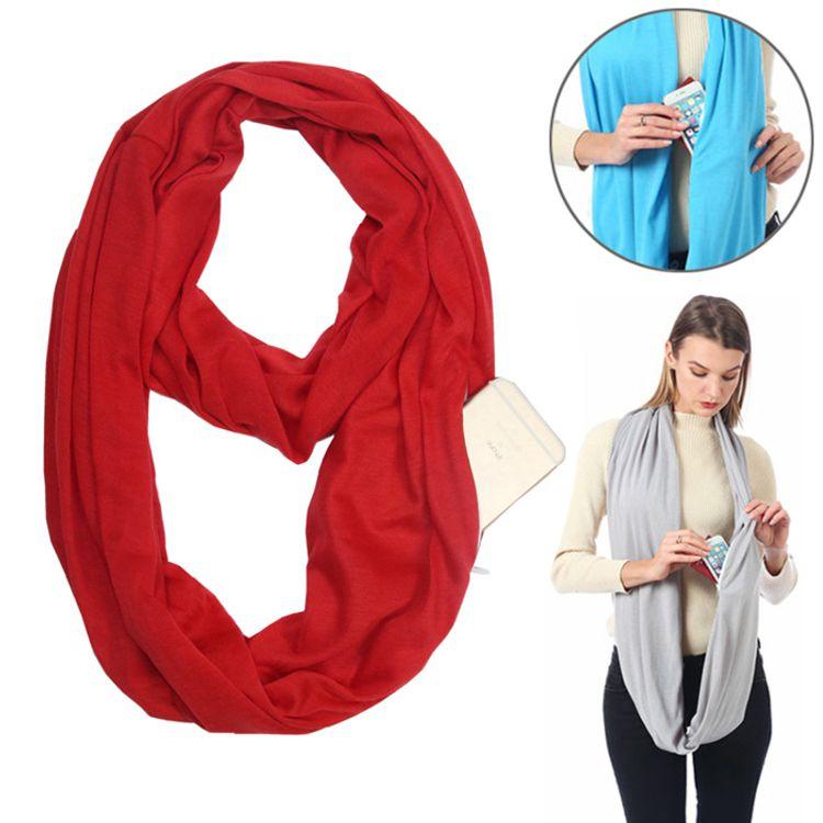 Бесконечный шарф (снуд) с потайным карманом на молнии Hot Pocket Scarf, цвет красный