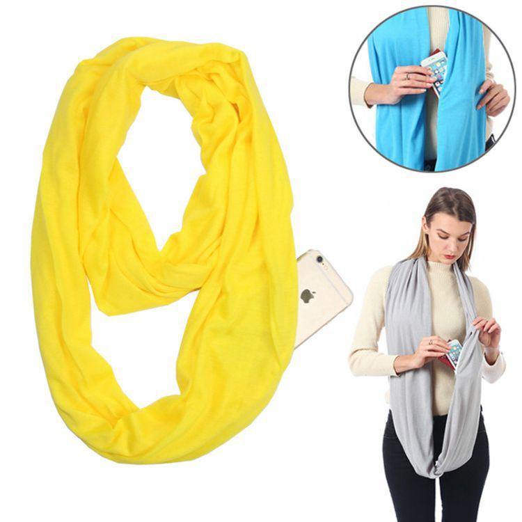 Бесконечный шарф (снуд) с потайным карманом на молнии Hot Pocket Scarf, цвет желтый