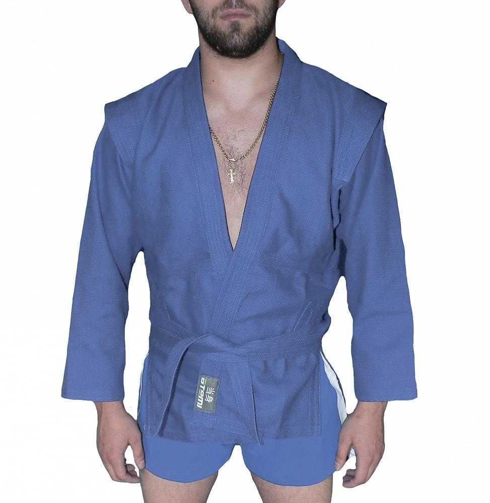 Куртка для самбо ёлочка без подкладки ATEMI синяя AX5