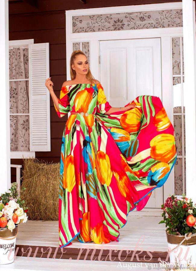 Летнее платье из шелка розовое
