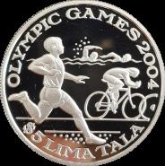 СЕРЕБРО Токелау 5 тала долларов 2003 Олимпиада 2004 Триатлон