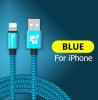 Кабель для IPhone 25см синий