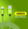 Кабель для IPhone 25см зеленый
