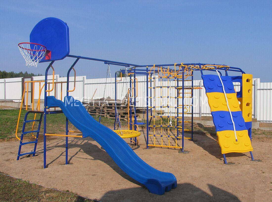 Уличная площадка Мечта-База с Дополнительными модулями - Скалодром, Башня, Кольцо баскетбольное, Качели-Гнездо, Модуль с площадкой и волновой горкой